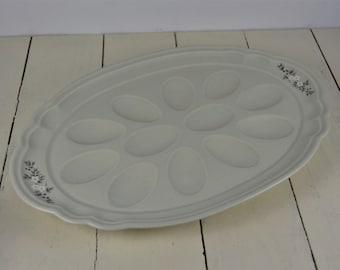 White Ceramic Egg Dish Holds 12 Eggs