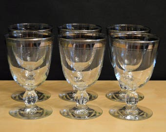 Set of 6 Double Platinum Band Wine Glasses, 8 oz, Silver Rings
