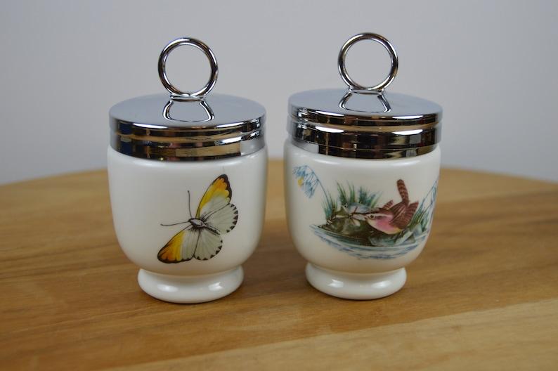 Fine Porcelain in Box Birds Pattern Wren, 1 Strawberry Fair Set of 2 Royal Worcester Egg Coddlers, 2.5, 1 Standard Made in England