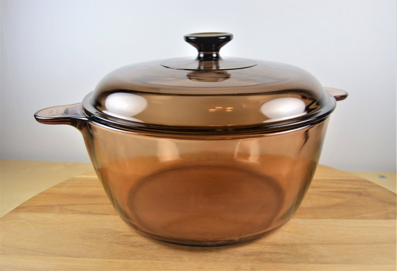 Vision Corning 4 5 Liter - 5 Quart Dutch Oven with Pyrex Lid, Large Amber  Brown Glass Pot, Tab Handles, USA