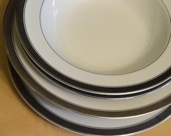 6 pcs Mikasa Palatial Platinum Fine China, 2) Bread Butter Plates, 1) Salad Plate, 2) Cereal Bowls, 1) Rim Soup Bowl, L3235, Encrusted Bands