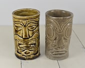 2 Pcs Hand Made Pottery TIKI Tumblers, 6 oz, Tiki Faces, Tiki Mask, 4 quot , Olive-Brown, Gray, Artist Signed TEAL