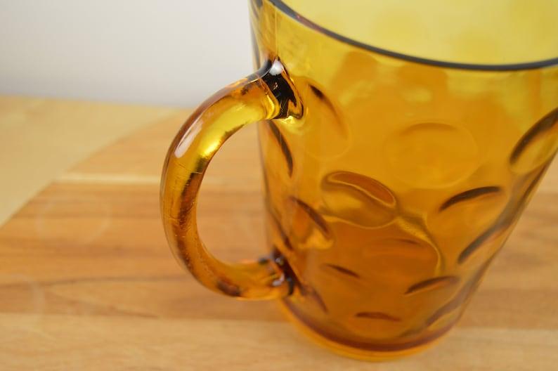 ELDORADO GOLD 56 oz Pitcher Pressed Glass Amber Honey Glass Dots by Hazel Atlas Polka Dots