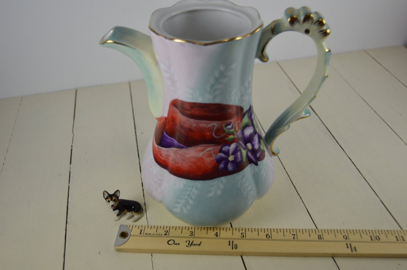 Vase Beautiful! 8 Vintage Hand Painted Coffee Pot WITH Red Hat Society Hats Graphic on top Decorative No Lid Olympic China
