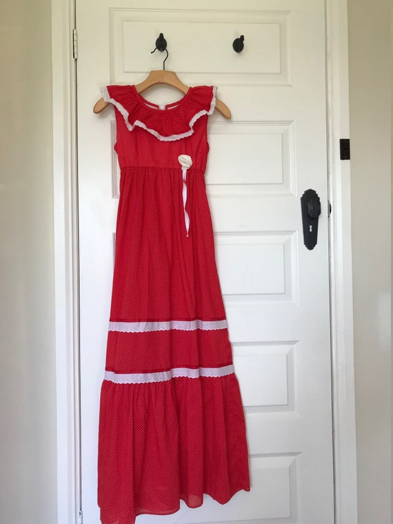 Liberty House bright red prairie dress