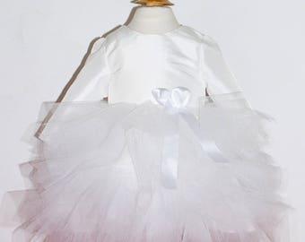 f33c1ab6850cc Robe de baptême hiver en tulle et taffetas blanc modèle Lydie
