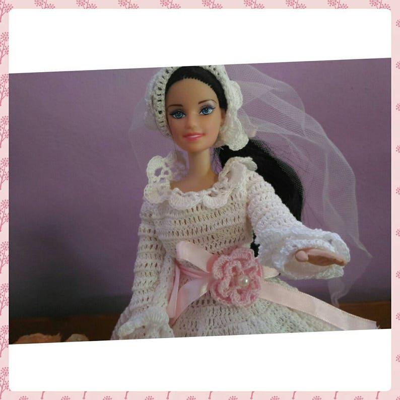 Barbie Abito da sposa bianco all uncinetto vestito Barbie  f0927a0a41ef