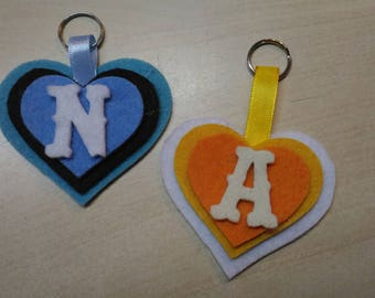 Heart felt keychain with initials name
