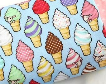 4 Colours Ice Cream Sketch Polycotton Fabric