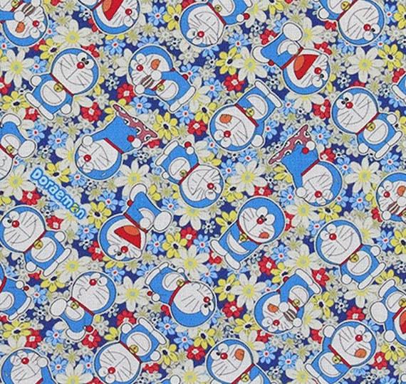 Doraemon Flower Japanese Cartoon Fabric Kids Fabric Etsy