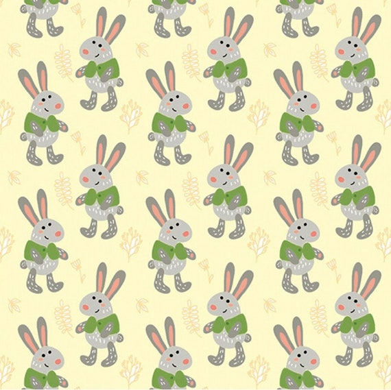 Childrens Craft Material Metre Easter Bunny Spring Print 100/% Cotton Fabric