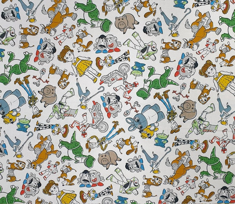 Disney Fabricface mask fabricKids Fabric Crafts Fabric Buzz Fabric Quilt Toy Story Sketch Cotton Fabrichalf yard fabricWoody Fabric