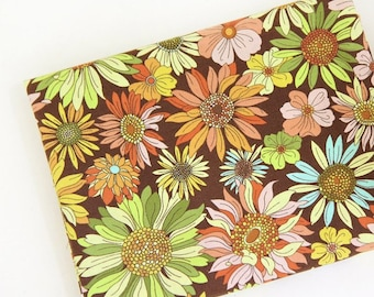 Sunflower Fabric - Beautiful Flower, Botanical Fabric, Red, Blue By The Yard