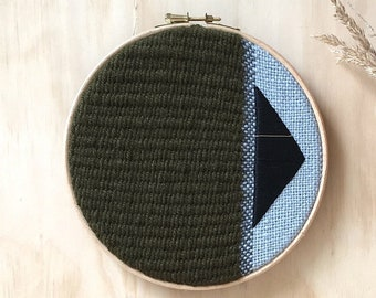 """Stylish Woven Wall Hanging, Unique Textile Art, Textile Wall Hanging Tapestry, Green 7"""" Fibre Art"""