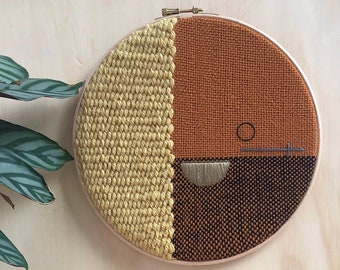 """Modern Textile Wall Hanging, Bold Woven Wall Art, Large 9"""" Tapestry, Geometric Decor, Embroidery Hoop Art"""