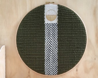 """Large Woven Wall Art, Unique Textile Wall Hanging, Tapestry in Green, Black & White with Gold Geometric Embroidery, 12"""" Round Fibre Decor"""