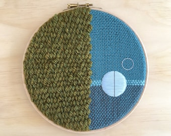 """Unique Textile Wall Hanging Tapestry Art, in Green & Teal, with Pale Blue Geometric Embroidery, 7"""" Hoop Art Design"""
