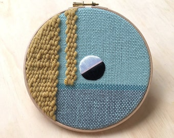 """Woven Wall Hanging, Bold Textile Art Tapestry, Geometric Fibre Art, Yellow & Green 7"""" Embroidery Hoop Art"""