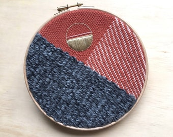 """Bold Woven Wall Hanging, Stylish Textile Art, Geometric Wall Tapestry, Grey, Burnt Orange, Pink & Gold 7"""" Embroidery Hoop Art"""