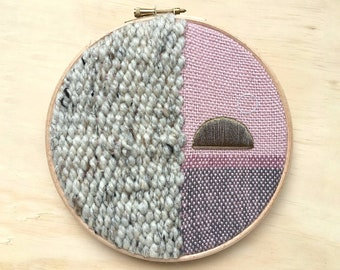 """Stylish & Bold Woven Wall Hanging, Modern Textile Fibre Art in Natural, Pink with Gold Embroidery, Round 7"""" Hoop Art Design"""