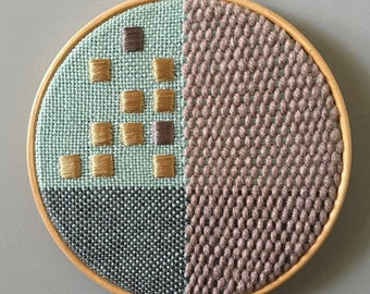 "Woven Wall Hanging, Home Decor, Fibre Art, Geometric Design, Mint Blue, Gold, Wall Decor, Unique Design, Modern Embroidery, 7"" Hoop Art"