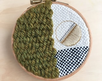 """Small Woven Wall Hanging, Round Textile Tapestry Art, in Green, Black & Gold, Original Geometric Woven Decor, 4"""" Fibre Hoop Design"""