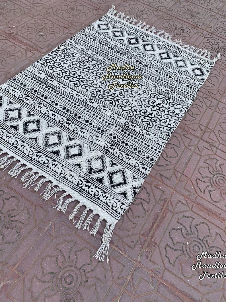 3x5Ft Cotton Rug Handmade Rug Indian Rug Handwoven Rug Area Rug Floor Carpet Rug Runner Rug Large Rug Vintage Rug Office Rug
