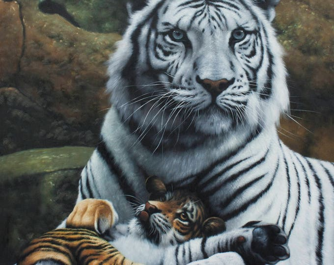 White Tiger and Cub Oil Painting Wall Art Handmade Canvas Decor