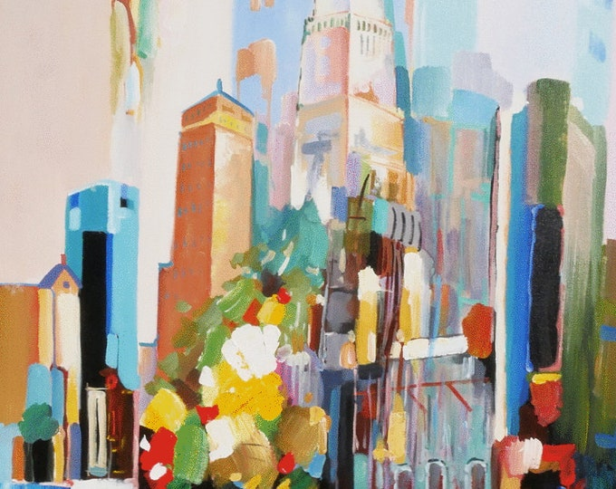 New York Art Abstract City Painting Textured Oil on Canvas  Wall Art Beautiful Decor