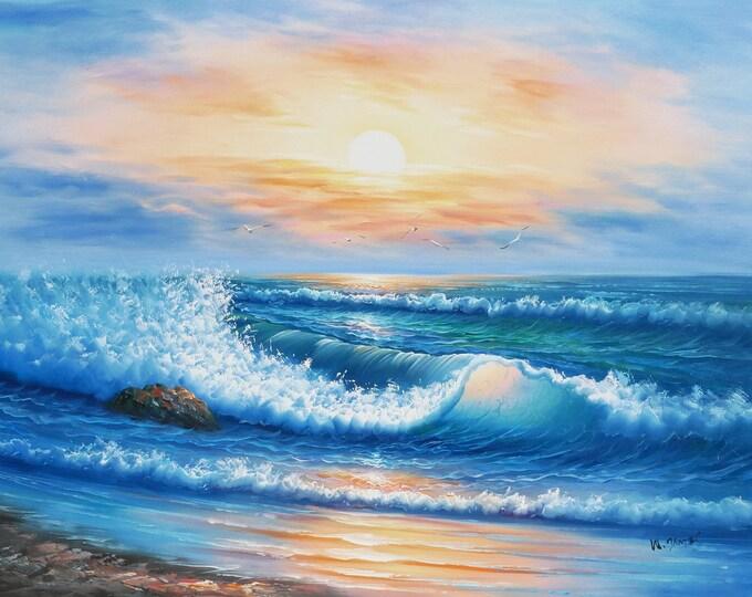 Sunset Ocean Art Moonlight Wave  Painting Blue Sky Oil on Canvas Big Sur Wall Art Beautiful Decor