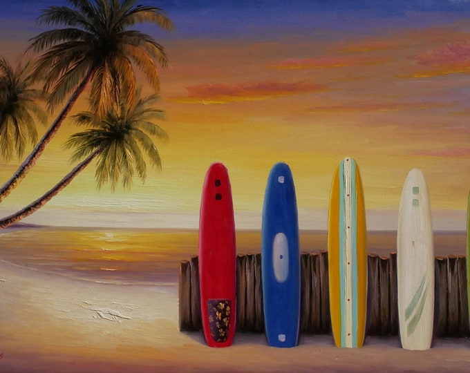Costa Rica Surfboards Sunset OIl Painting Canvas Art Wall Decor