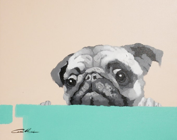 Puppy Painting Wimsical Pug Dog Oil on Canvas Wall Art Beautiful Decor