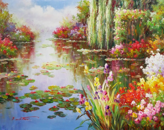 Lily Pond Lake Floral Art Landscape Painting Handmade Oil on Canvas Wall Art Beautiful Decor
