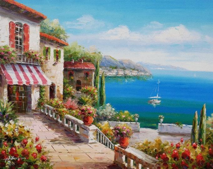 Coastal Italy Art Mediterranean Painting Handmade Oil on Canvas Wall Art Beautiful Decor