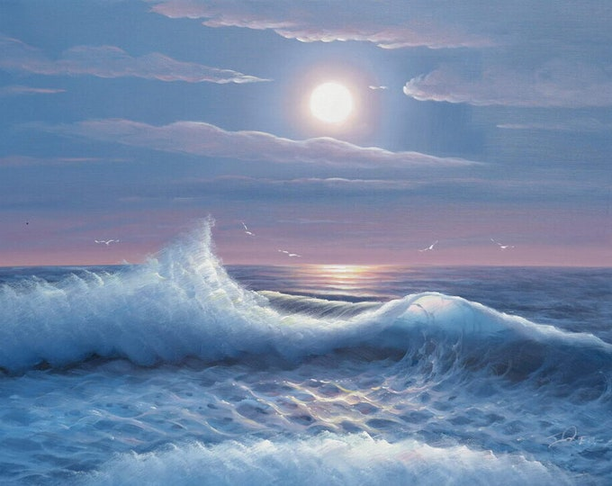 Night Ocean Art Moonlight Wave  Painting Blue Sky Oil on Canvas Wall Art Beautiful Decor