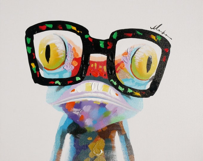 Gecko Painting Whimsical Oil on Canvas Modern Wall Art Beautiful Decor