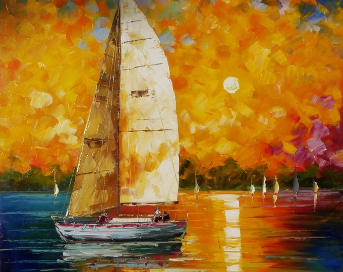 Sailboat Art Sailboat Racing Painting Handmade Oil on Canvas Wall Art Beautiful Decor