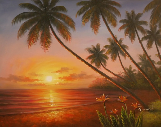 Sunset Painting Tropical Oil on Canvas Art Hawaii Wall Art Decor