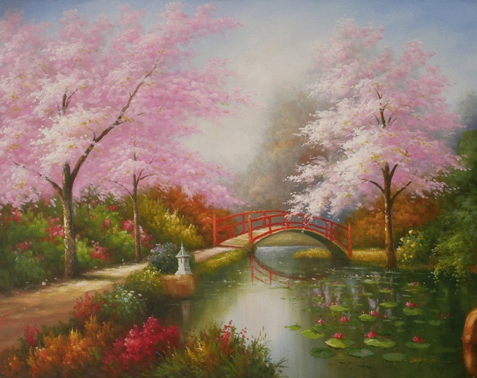 Cherry Blossom Art Landscape Tree Painting Handmade Oil on Canvas Wall Art Beautiful Decor