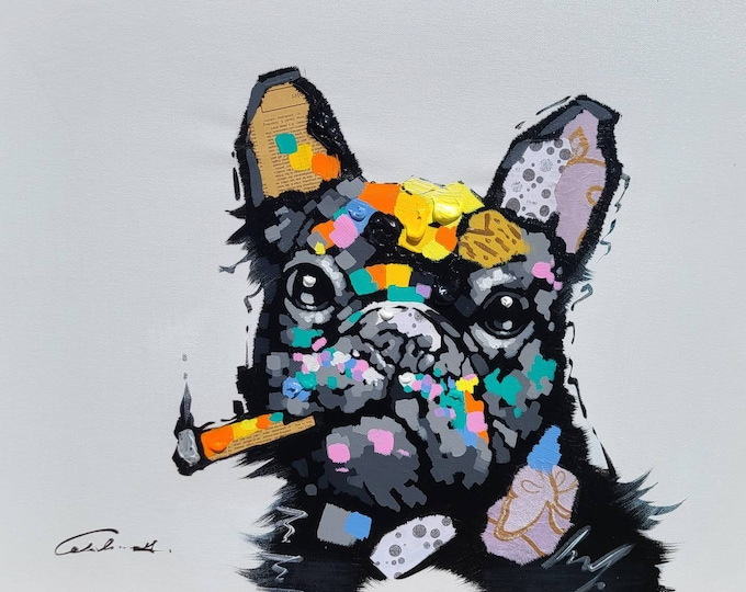 Puppy Painting Wimsical Frenchie Dog Oil on Canvas Wall Art Beautiful Decor