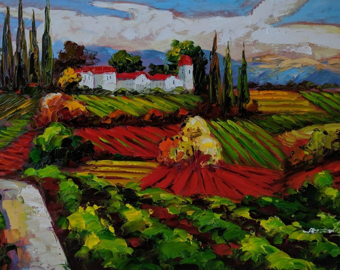 Tuscan Vineyard Art Mediterranean Painting Oil on Canvas  Wall Art Beautiful Decor