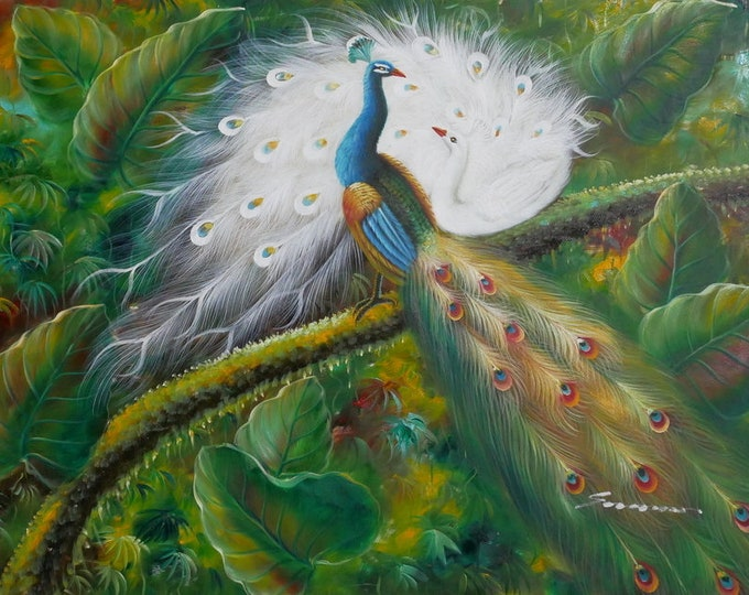 Peacock Art Bird Painting Oil on Canvas Wall Art Beautiful Decor