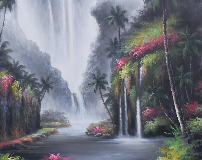 Waterfall Oil Painting Tropical Art on Canvas Wall Art Beautiful Decor of Hawaii Kauaii