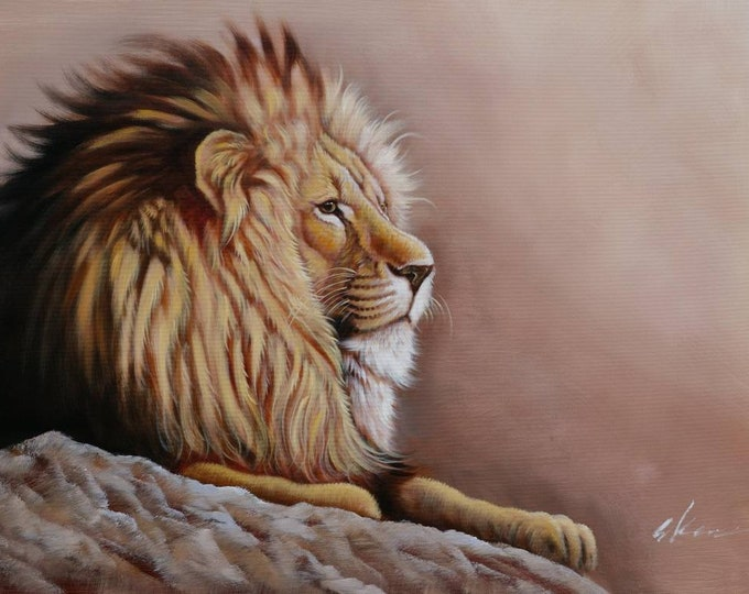 Lion Art Painting Handmade Oil on Canvas Wall Art Beautiful Decor