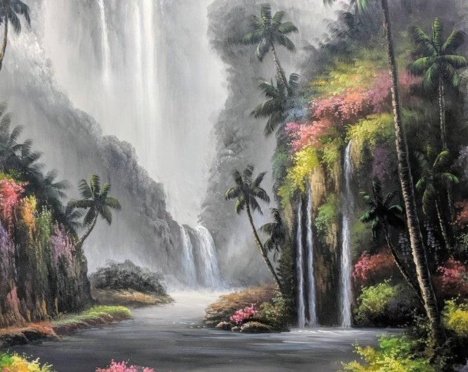 Tropical Waterfall Oil Painting Kauai Hawaii Handmade Decor on Canvas Wall Art