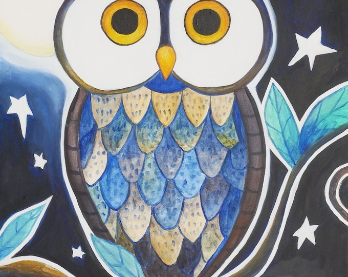Nighttime Owl Art Acrylic Painting on Canvas Wall Art Beautiful Decor