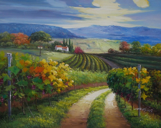 Vineyard Oil Painting Napa Valley Sonoma Valley Decor on Canvas Wall Art