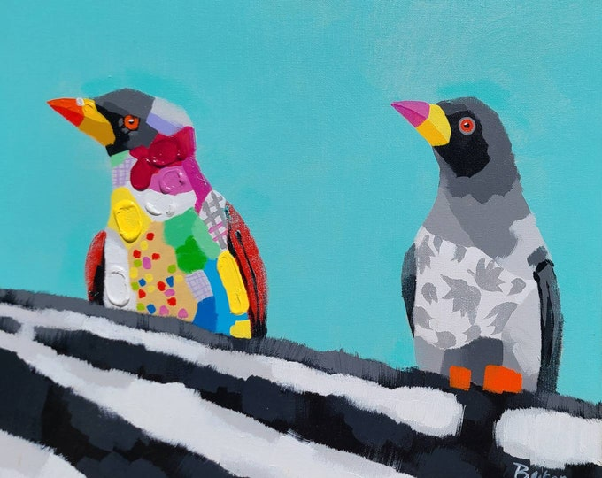 Penguin Painting Wimsical Oil on Canvas Wall Art Beautiful Decor