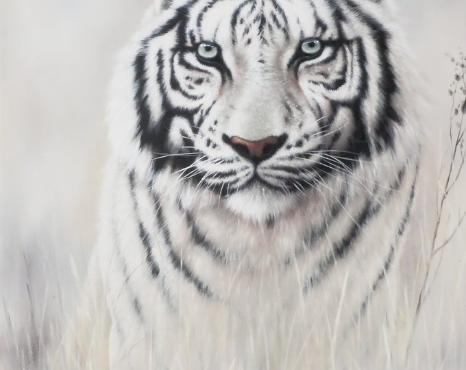 Tiger Art Animal Oil Painting Wall Decor Hand Made on Canvas 36x24