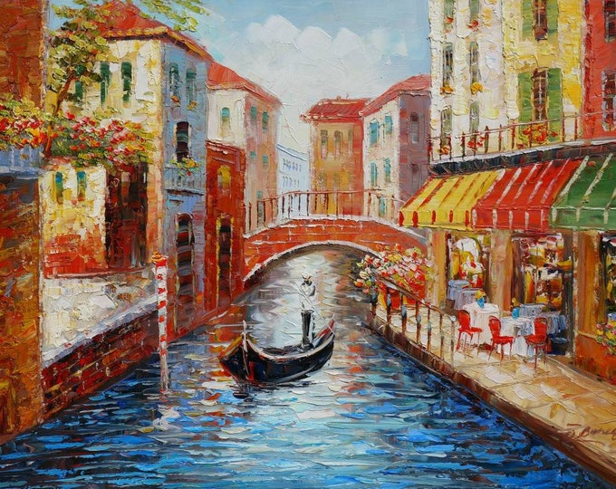 Venice Art Mediterranean Painting Italy Pallet Knife Oil on Canvas  Gondola Wall Art Beautiful Decor